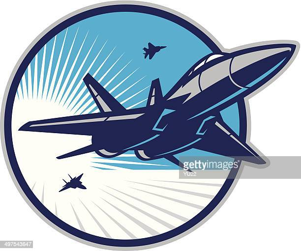 jet fighter in sky - air force stock illustrations