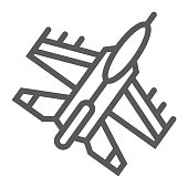 Jet fighter line icon, air and army, airplane sign, vector graphics, a linear pattern on a white background.