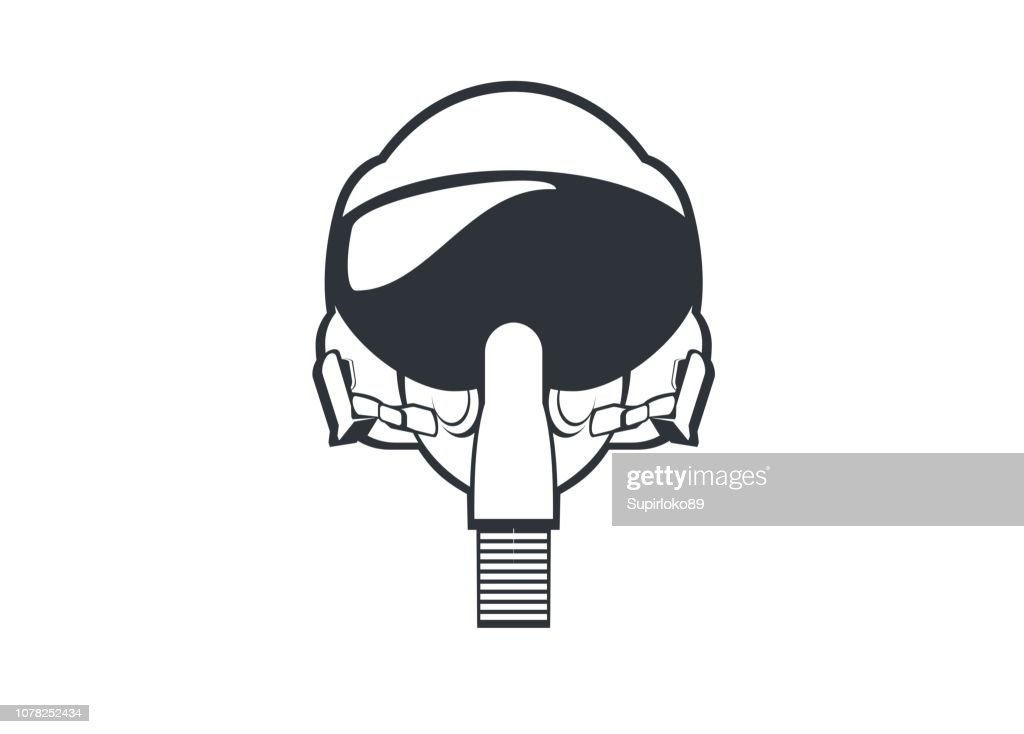 jet fighter pilot helmet simple line art illustration