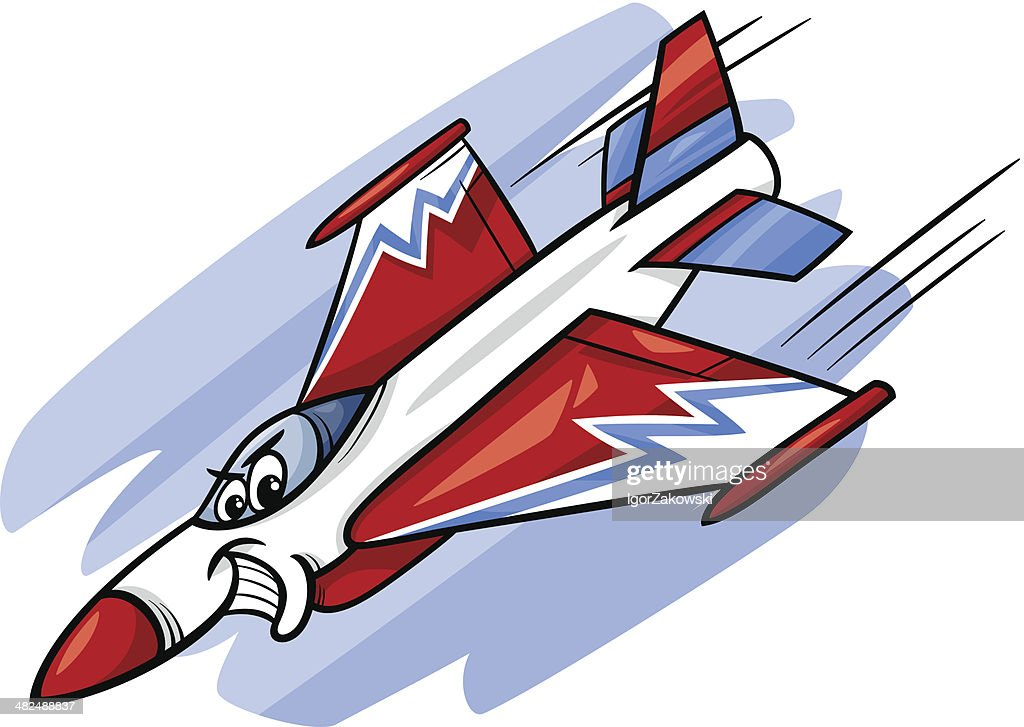 jet fighter plane cartoon illustration