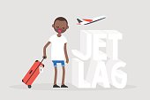 Jet lag conceptual illustration. Young exhausted character yawning at the airport after the flight / flat editable vector illustration, clip art