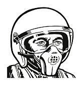 Jet Pilot Wearing a Helmet and Mask