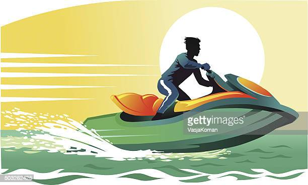 jet skier having fun - motorboating stock illustrations, clip art, cartoons, & icons