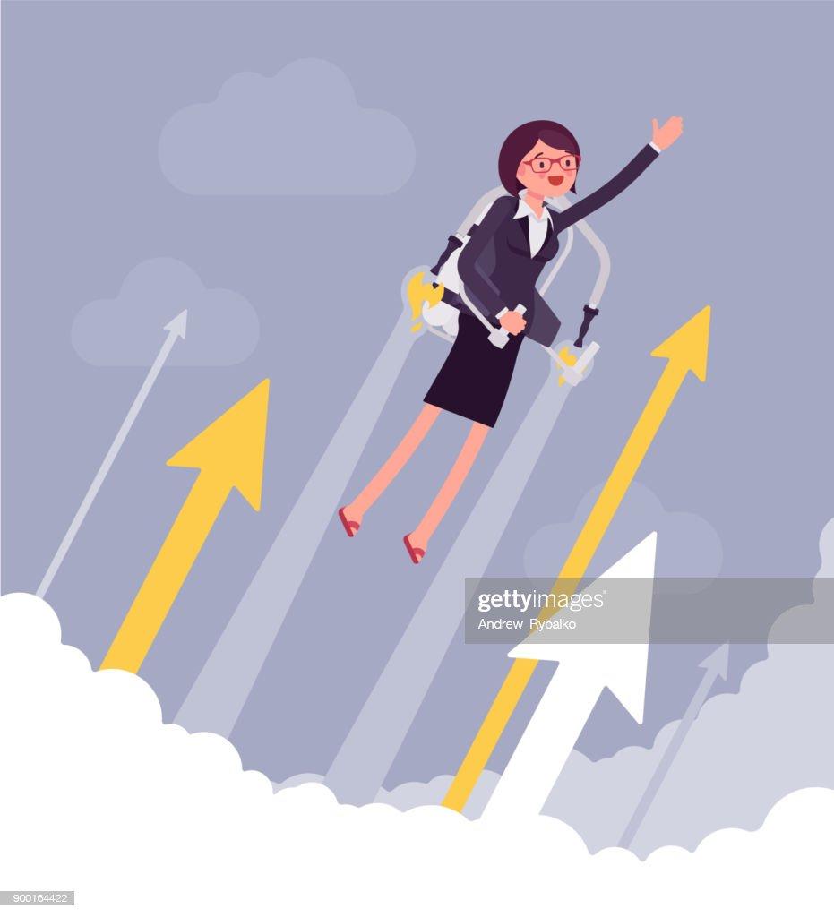 Jetpack businesswoman flight