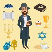 Jew icons vector set