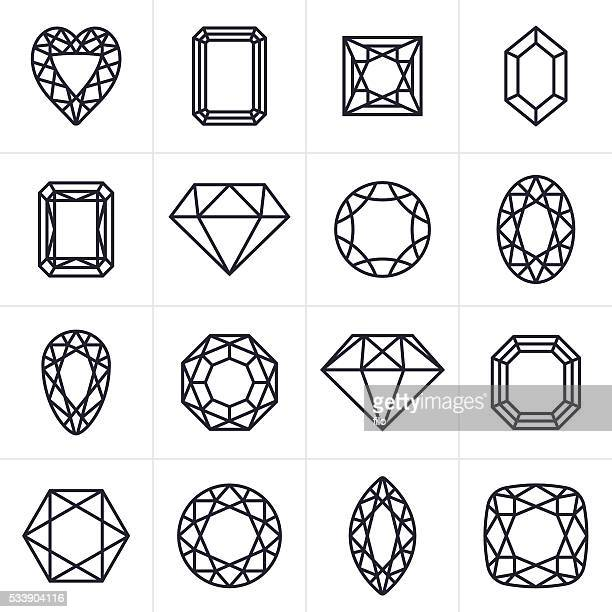 Jewel and Gem Cut Icons and Symbols