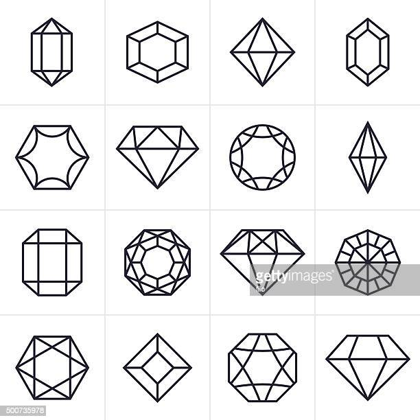 jewel and gem icons and symbols - crystal stock illustrations