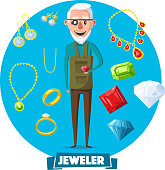 Jeweler man profession and jewelry vector items