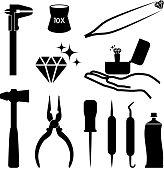 Jeweler tools black and white royalty free vector icon set