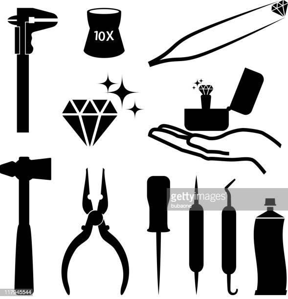 juwelier tools schwarz und weiß lizenzfreie vektor icon-set - schieblehre stock-grafiken, -clipart, -cartoons und -symbole