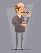 Jeweler Valuer Appraiser Quality Check Process Icon Retro Cartoon Design