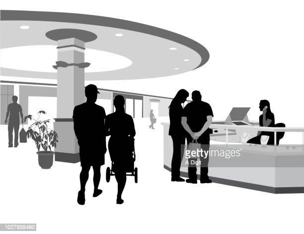 jewellery kiosk uninterested - shopping mall stock illustrations