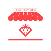 Jewellery Shop, Jewelry Repair Shop Single Flat Vector Icon. Striped Awning and Signboard