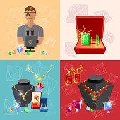 Jewelry banners: jeweler at work jewels earrings