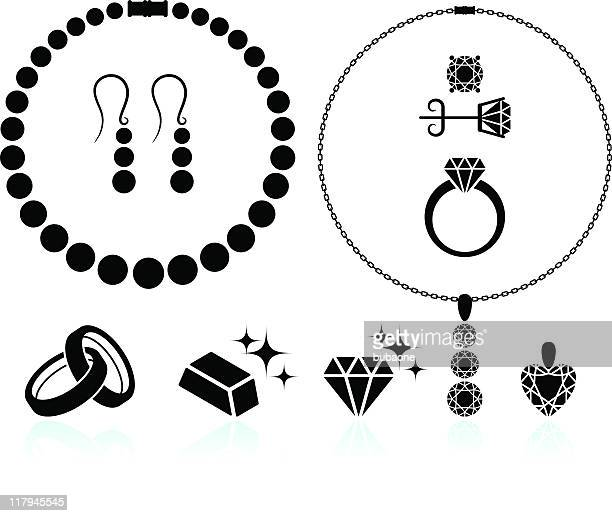 jewelry black and white royalty free vector icon set - diamond necklace stock illustrations