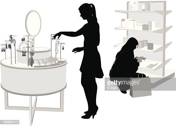 jewelry choices vector silhouette - retail display stock illustrations, clip art, cartoons, & icons
