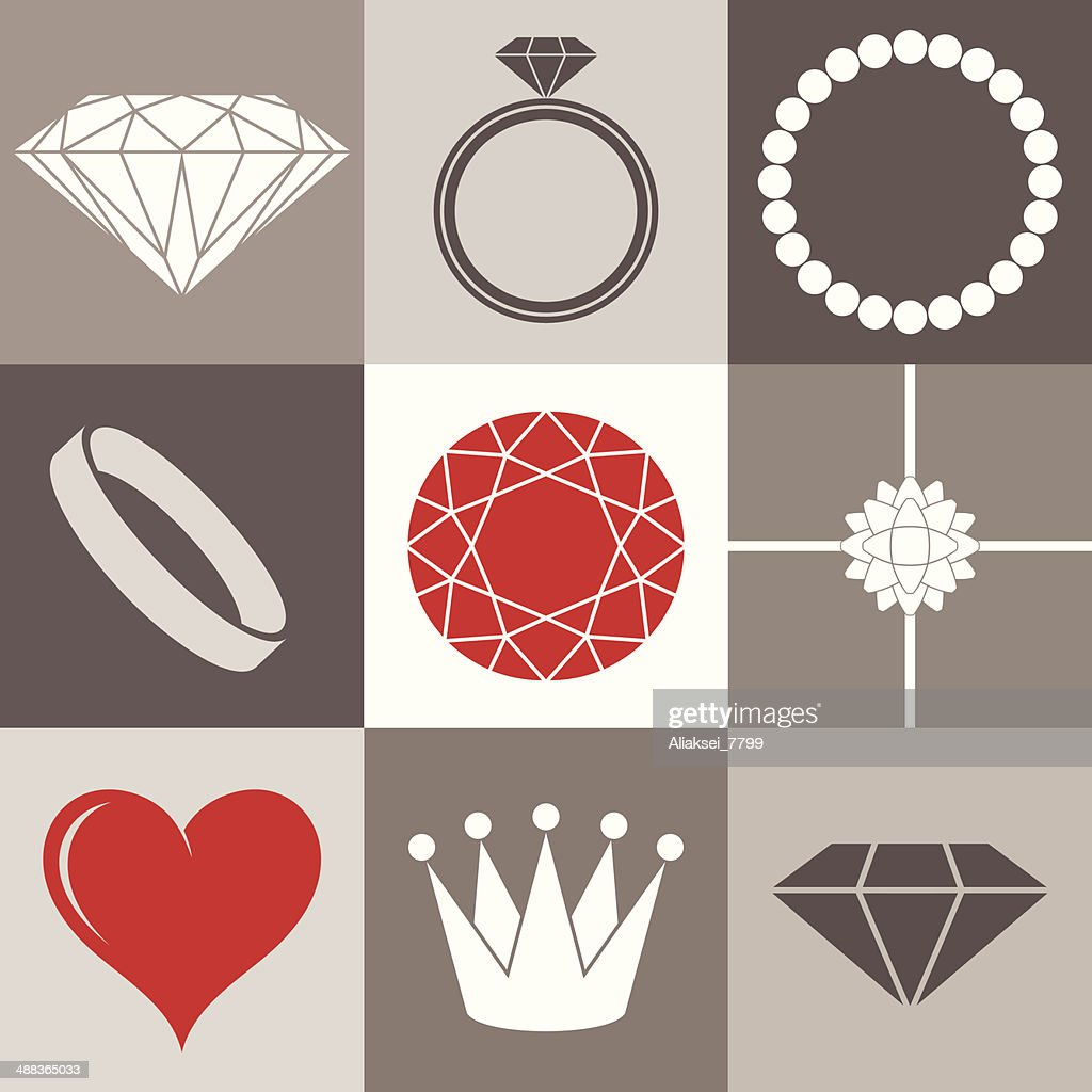 Jewelry collection. Icon set