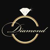 Jewelry company emblem. Ring vector logo
