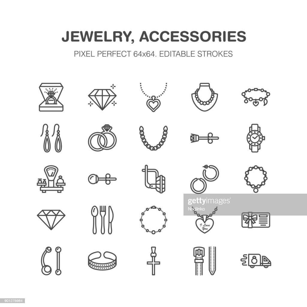 Jewelry flat line icons, jewellery store signs. Jewels accessories - gold engagement rings, gem earrings, silver chain, engraving necklaces, brilliants. Thin signs fashion store. Pixel perfect 64x64