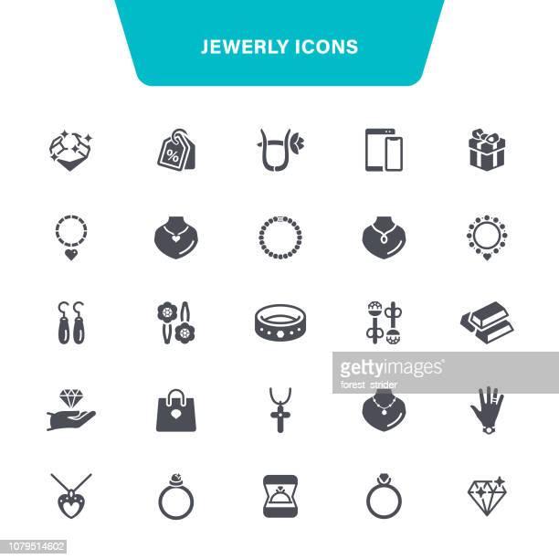 jewelry icons - jewellery stock illustrations