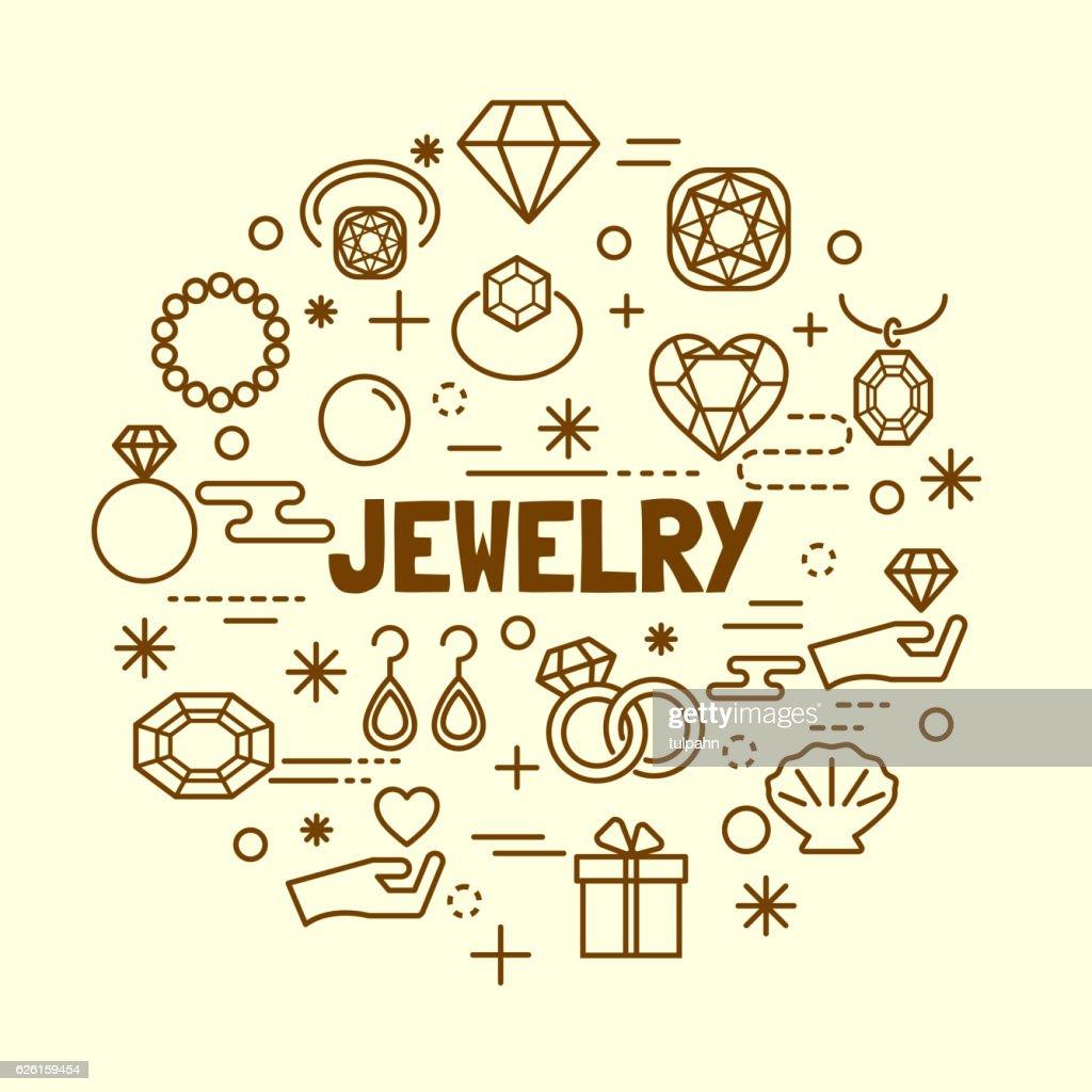 jewelry minimal thin line icons