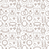 Jewelry seamless pattern, line illustration. Vector flat icons of jewels accessories - gold engagement rings, diamond, pearl necklaces, charms, watches. Fashion store repeated background