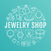 Jewelry shop, diamond accessories banner illustration. Vector line icon of jewels - gold engagement rings, gem earrings, silver necklaces, charms bracelets, brilliants. Fashion store circle template