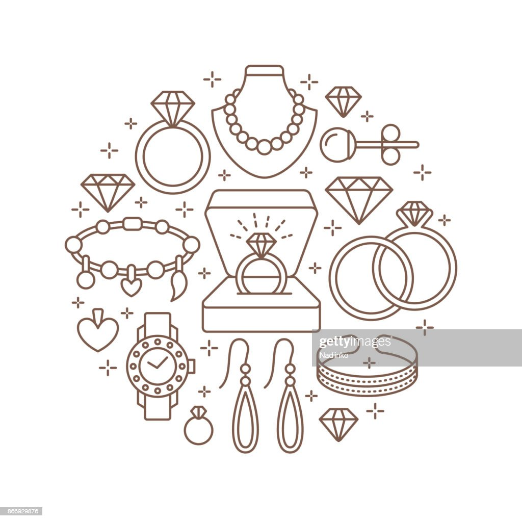 Jewelry shop, diamond accessories banner illustration. Vector line icon of jewels - gold watches, engagement rings, gem earrings, silver necklaces, charms, brilliants. Fashion store circle template