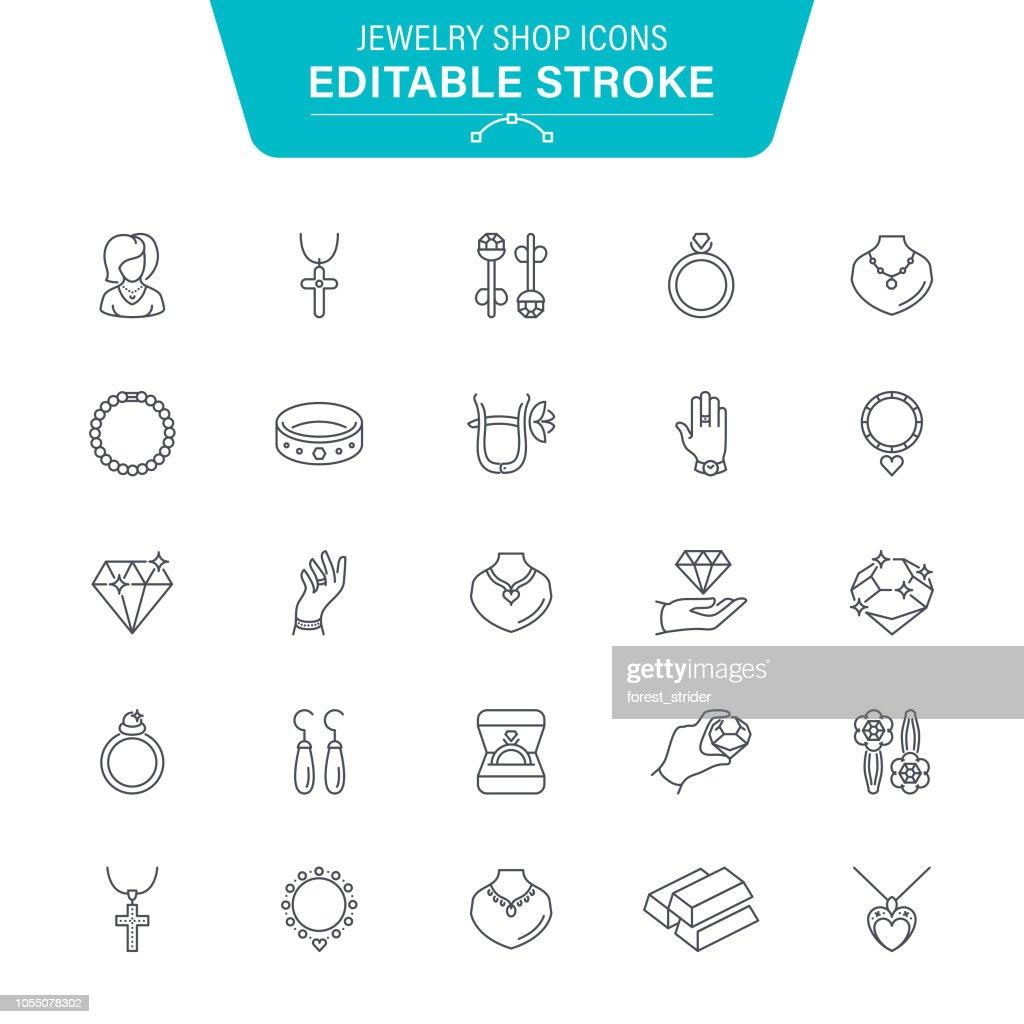 Jewelry Shop Line Icons : Stock Illustration