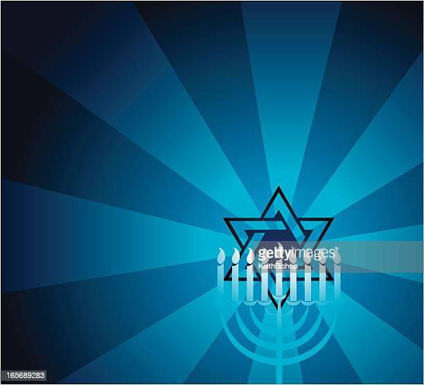 jewish faith star of david with menorah - hanukkah stock illustrations, clip art, cartoons, & icons