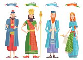 Jewish festival of Purim. Book of Esther characters and heroes