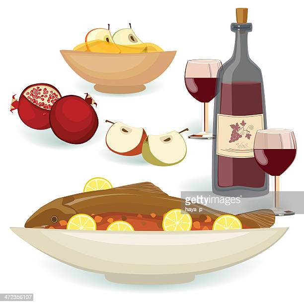 Jewish Holiday Food for the Meal Rosh Hashanah