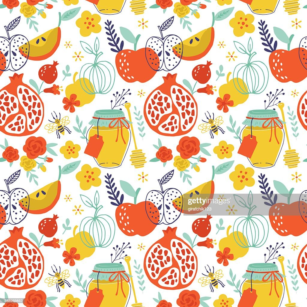 Jewish holiday Rosh Hashana seamless pattern design with apples,