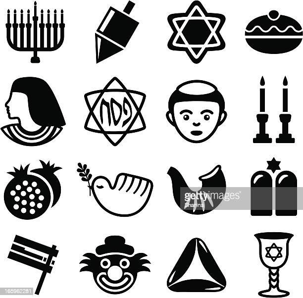 jewish holidays combo - icons set - passover stock illustrations