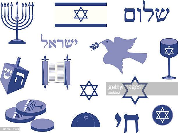 jewish holidays icon set - hebrew script stock illustrations, clip art, cartoons, & icons