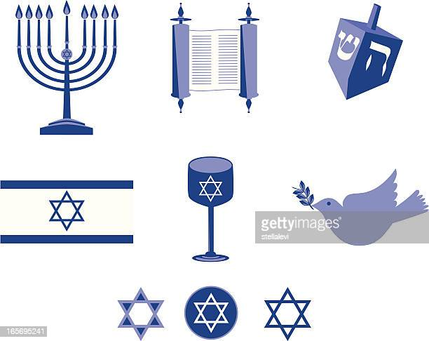 jewish icon set - hebrew script stock illustrations, clip art, cartoons, & icons