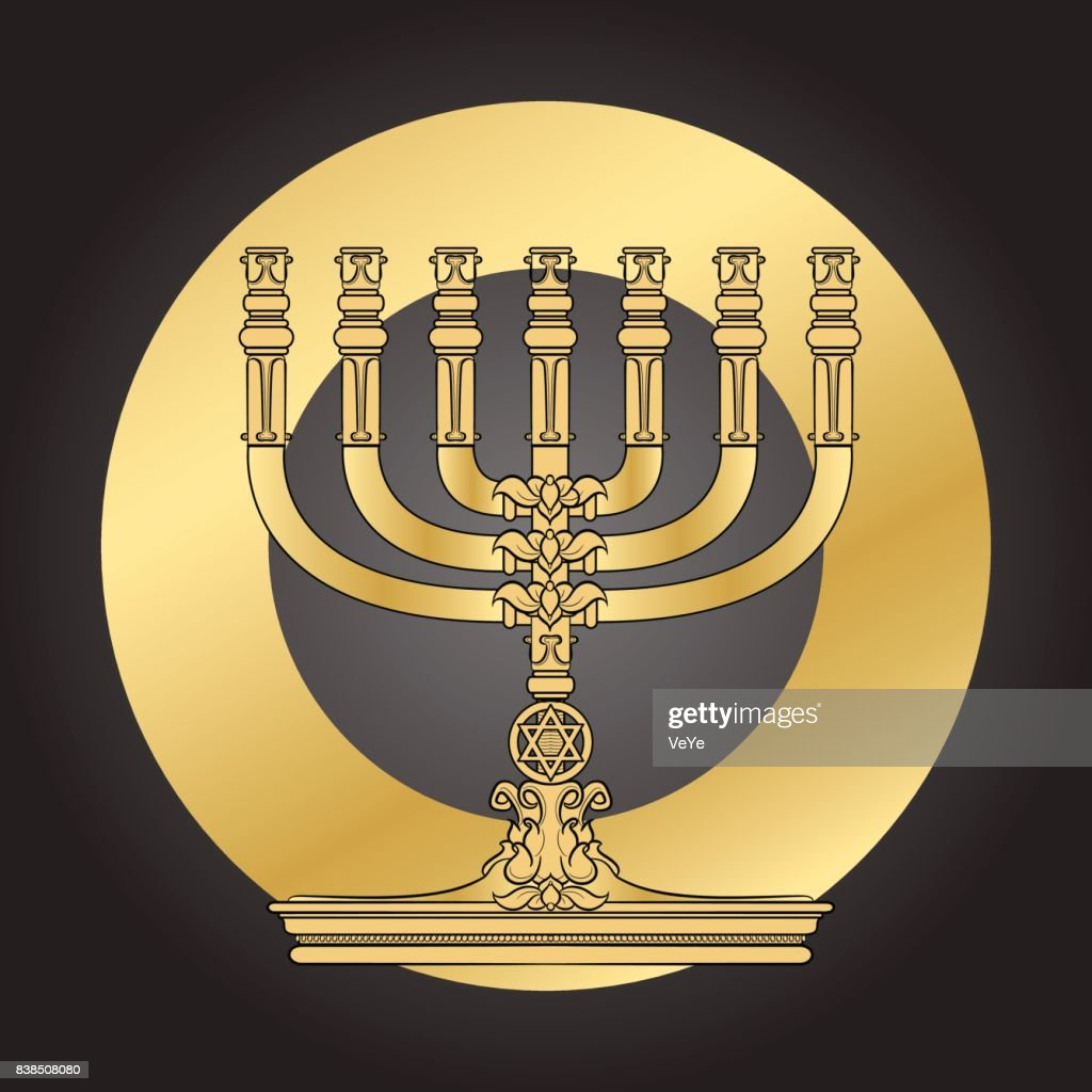 Jewish Menorah candlestick. Elegant greeting card.