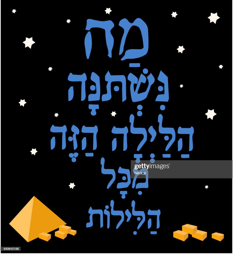 Jewish Passover Hebrew Text What Has Changed On This Night Poster