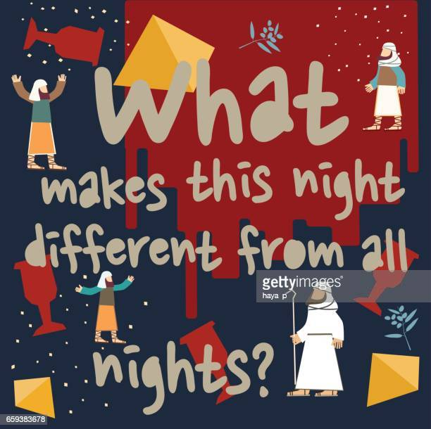"jewish  passover set with  text-"" what makes this night different from all nights?"" - passover stock illustrations"