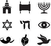 Jewish religious items black and white vector icon set