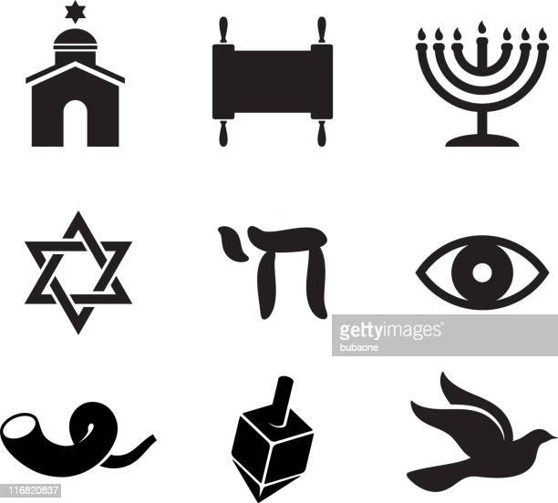 jewish religious items black and white vector icon set - torah stock illustrations