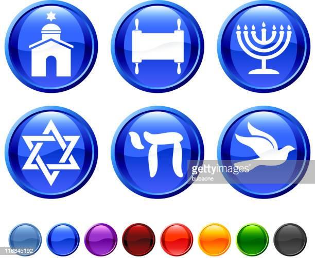 Jewish religious items royalty free vector icon set