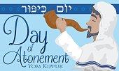 Jewish Senior Man Blowing a Shofar Horn in Yom Kippur