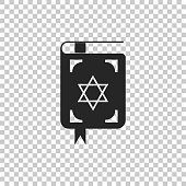 Jewish torah book icon isolated on transparent background. The Book of the Pentateuch of Moses. On the cover of the Bible is the image of the Star of David. Flat design. Vector Illustration