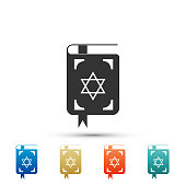 Jewish torah book icon isolated on white background. The Book of the Pentateuch of Moses. On the cover of the Bible is the image of the Star of David. Colored icons. Flat design. Vector Illustration