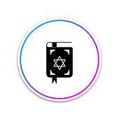Jewish torah book icon isolated on white background. The Book of the Pentateuch of Moses. On the cover of the Bible is the image of the Star of David. Circle white button. Vector Illustration