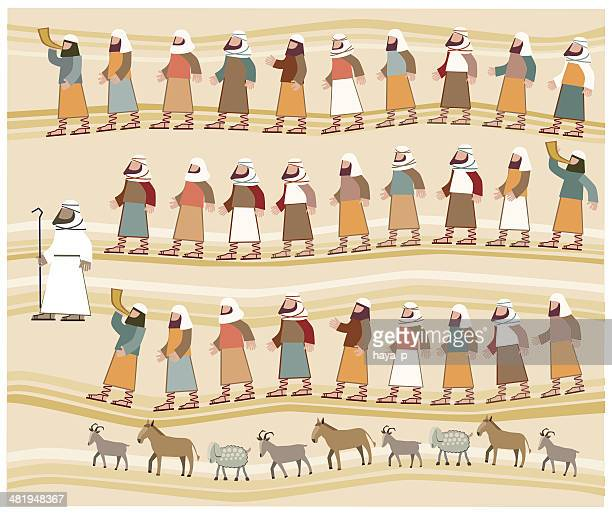 jews walking in the desert, passover illustration - passover stock illustrations
