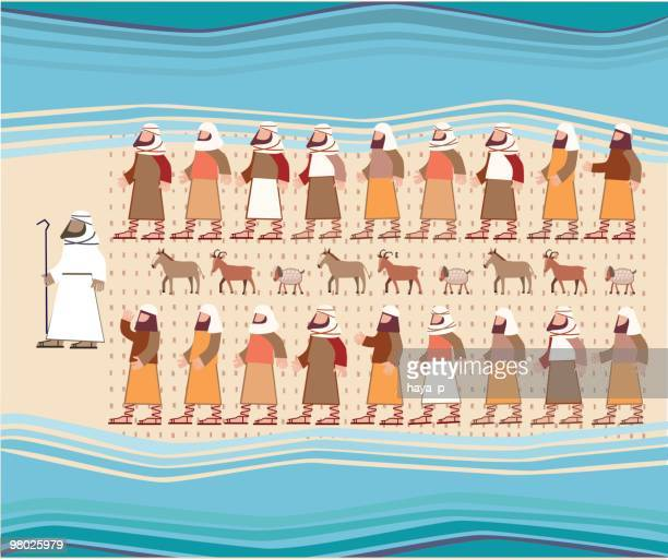 jews walking through the parted red sea, passover illustration - passover stock illustrations