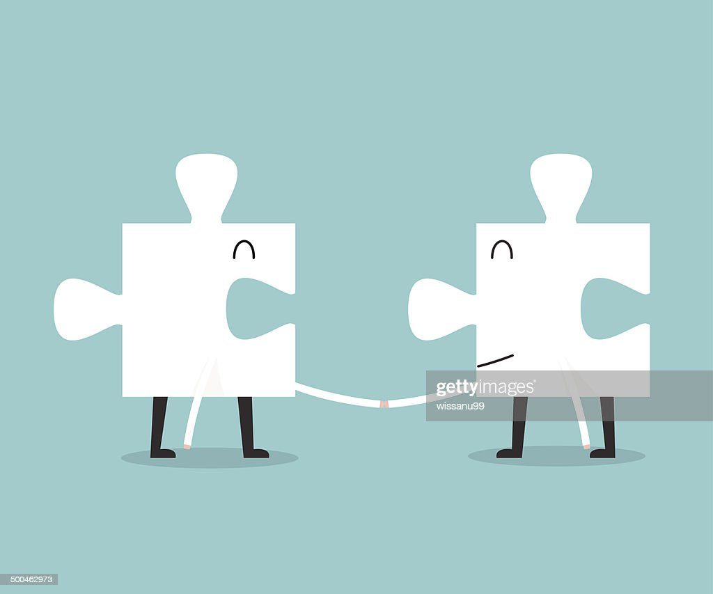 Jigsaw handshake cartoon. success concept.