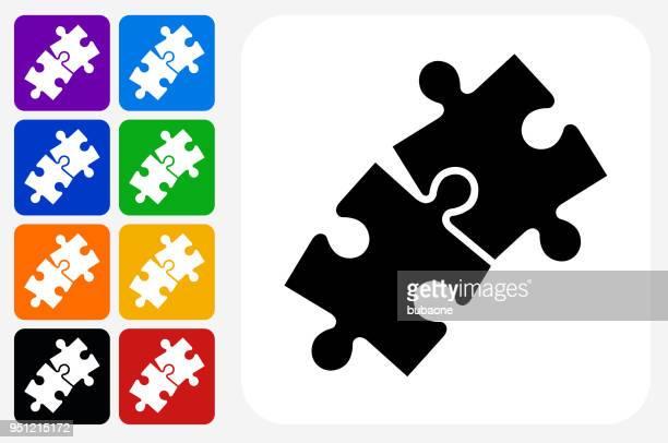 ジグソー パズルのアイコン広場ボタン セット - 電動糸のこ点のイラスト素材/クリップアート素材/マンガ素材/アイコン素材